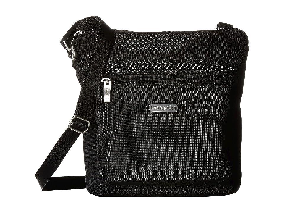 Baggallini Crossbody Bag w/ RFID Wristlet (Black With Sand Lining) Cross Body Handbags