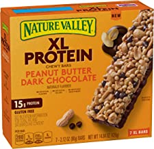 Nature Valley Chewy Granola Bar, XL Protein, Gluten Free, Peanut Butter Dark Chocolate ( 7 Count per pack of 2.12 Ounce each), 14.84 Ounce, Pack of 6