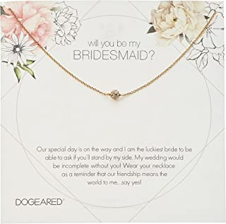 Dogeared Will You Be My Bridesmaid Flower Card Pave Sparkle Ball Chain Necklace, 16