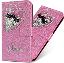 Miagon Diamond Case for Samsung Galaxy A71 Glitter Rhinestone Heart PU Leather Folio Flip Wallet Cover Magnetic Closure Card Slots Case Cover Pink Estimated Price : £ 6,59