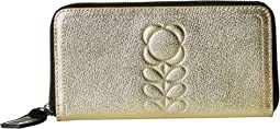 Orla Kiely - Embossed Flower Stem Leather Big Zip Wallet