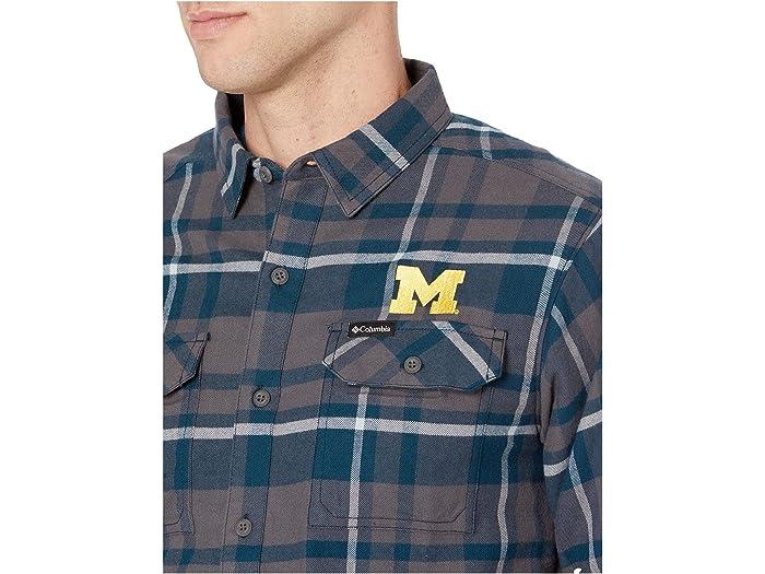 Columbia Men/'s Collegiate Flare Gun L//S Flannel Michigan Wolverines