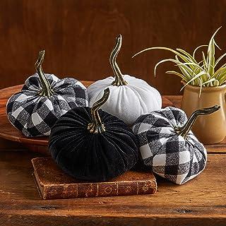Buffalo Plaid Flannel and Velvet Pumpkins Set of 4, Modern Farmhouse Decor, Handmade Mantle Decor, Rustic Centerpiece, Fall Halloween Thanksgiving Decorations