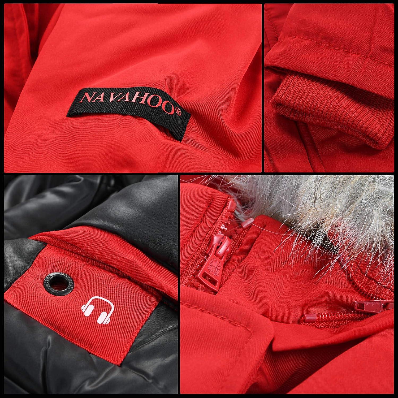 Navahoo Damen Winter Jacke Parka Mantel Winterjacke warm gefütterte Kapuze B612 Navy