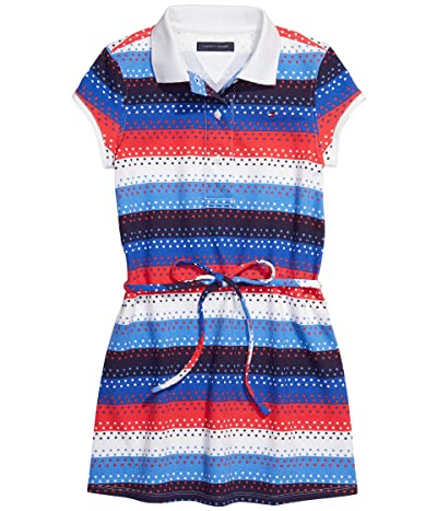 Tommy Hilfiger Adaptive Swan Polo Dress with VELCRO(r) Closure and Tie Belt (Toddler/Little Kids/Big Kids) (Rosy Cheeks/Multi) Women