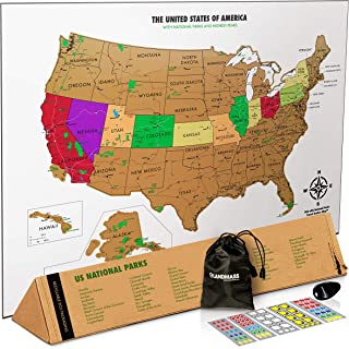 Landmass Scratch Off Map of The United States - USA Wall Map - US National Parks, State Capitals, Peaks and Highways - 17 x 24 Inches - Scratch Your Travels