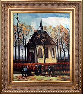 overstockArt Congregation Leaving The Reformed Church in Nuenen by Van Gogh with Regal Gold Inset and Marble Finish