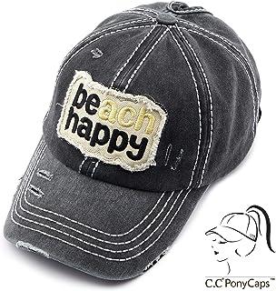 27f65683610 C.C Exclusives Hatsandscarf Washed Distressed Cotton Denim Ponytail Hat  Adjustable Baseball Cap (BT-761