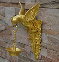 Aakrati Brass Parrot Showpiece with Diya Decorative Bird Welcome Door Hanging Statue Wall Decor Metal Sculpture/Statue - U...