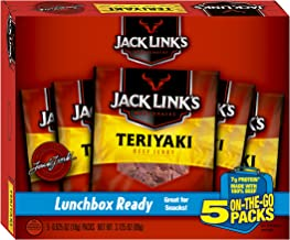 Jack Link's Beef Jerky 5 Count Multipack, Teriyaki, 5, 0.625 oz. Bags – Flavorful Meat Snack for Lunches, Ready to Eat – 7g of Protein, Made with 100% Beef – No Added MSG or Nitrates/Nitrites