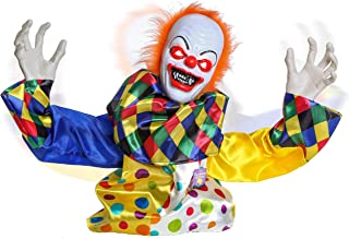Halloween Haunters Animated Scary Speaking Circus Clown Groundbreaker Prop Decoration with Moving Arms, Shaking Head and Red Flashing Eyes - Life-Size Says 5 Spooky Phrases - Haunted House, Graveyard