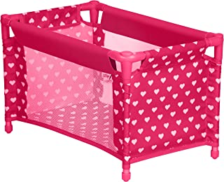 Doll Crib Playpen Bed with Pillow, Blanket and Carry Bag, Fits 18 Inch Doll