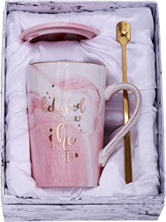 Jumway She Believed she could So She Did mug - Congratulations Gifts And Graduation Gifts for Her - Spiritual Inspiritional Gifts for Women,Going Away,Job Change,Birthday Gift Pink Marble Mug 14 oz