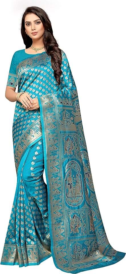 Indian Freya crafts Women's Banarasi Silk Saree Saree