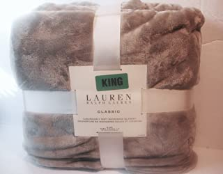 Ralph Lauren Classic Micromink King Blanket -Grey-taupe King