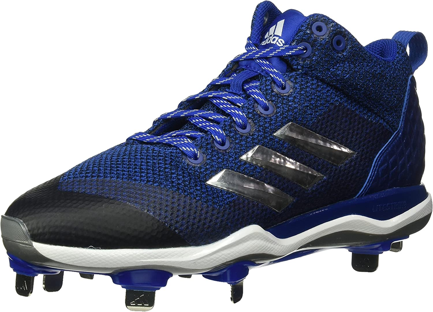 Adidas Men's Freak X Carbon Mid Baseball shoes, Collegiate Royal, Silver met, FTWR White, 12.5 M US