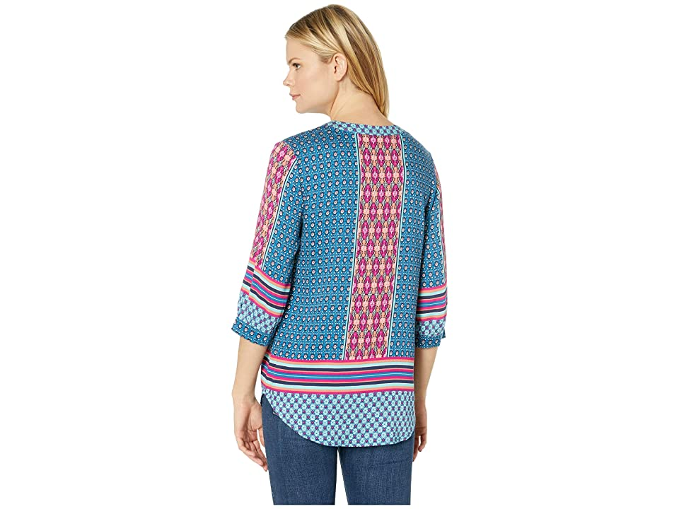 Tribal Printed Stretch Challis 3/4 Sleeve Blouse with Neckline Tie (Bali Blue) Women's Blouse