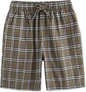 Cotton Lounge Pants for Men - 100% Soft Cotton Plaid Check Lounger Sleeping Pajama Pants with Pockets and Button Fly