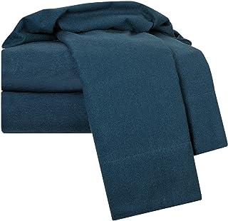 Clara Clark 100-Percent Egyptian Cotton Flannel 4-Piece Bed Sheet Set, Navy Blue, Twin