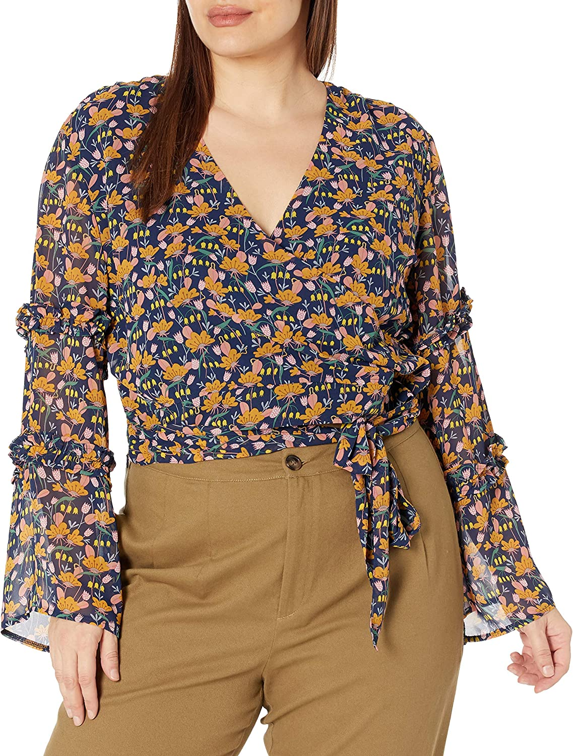 KENDALL Large special price + KYLIE Women's Ruffle 25% OFF Bell Sleeve Waist Tie with Blouse