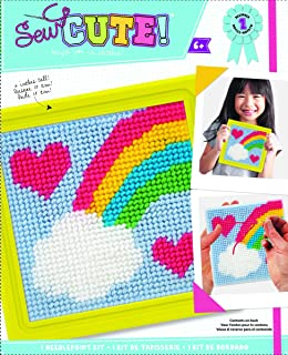 Colorbok 61904 Rainbow Learn to Sew Needlepoint Kit, 6-Inch by 6-Inch, Yellow Frame