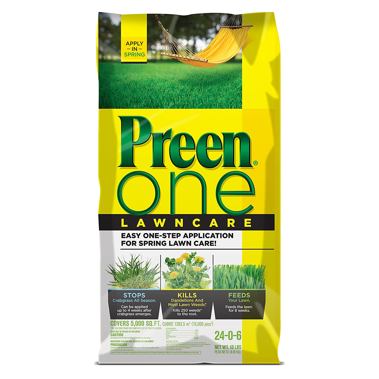 Preen 2164169 One LawnCare Weed & Feed-Covers 5,000 sq. ft