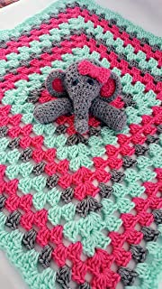Crochet elephant baby lovey blanket security blanket