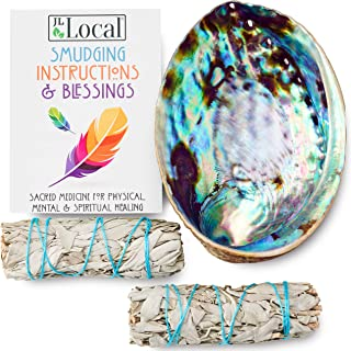 Origins Smudging Kit - 2 White Sage Smudge Stick + Abalone Shell Bowl   Sustainably Sourced Healing Incense...