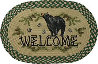 River's Edge Products Bear Braided Rug, 26 Inch Oval Indoor Area Rug, Cabin Decor
