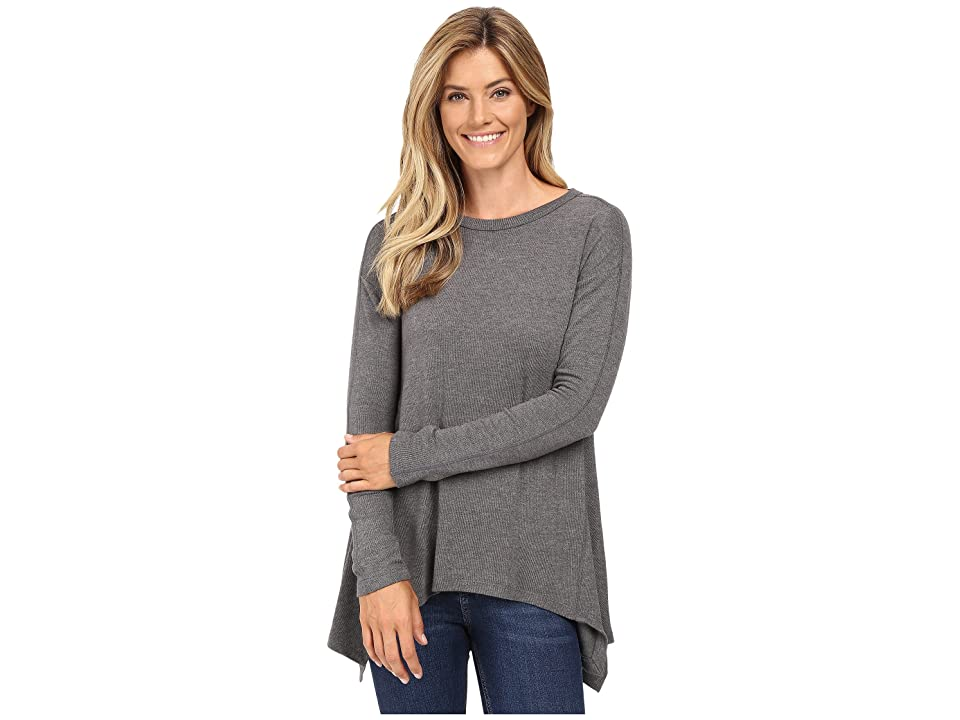Karen Kane Paneled Handkerchief Top (Dark Heather Grey) Women