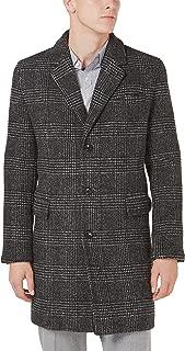 Mens Slim Fit Lyndon Glen Plaid Top Coat 44 Regular Black & White