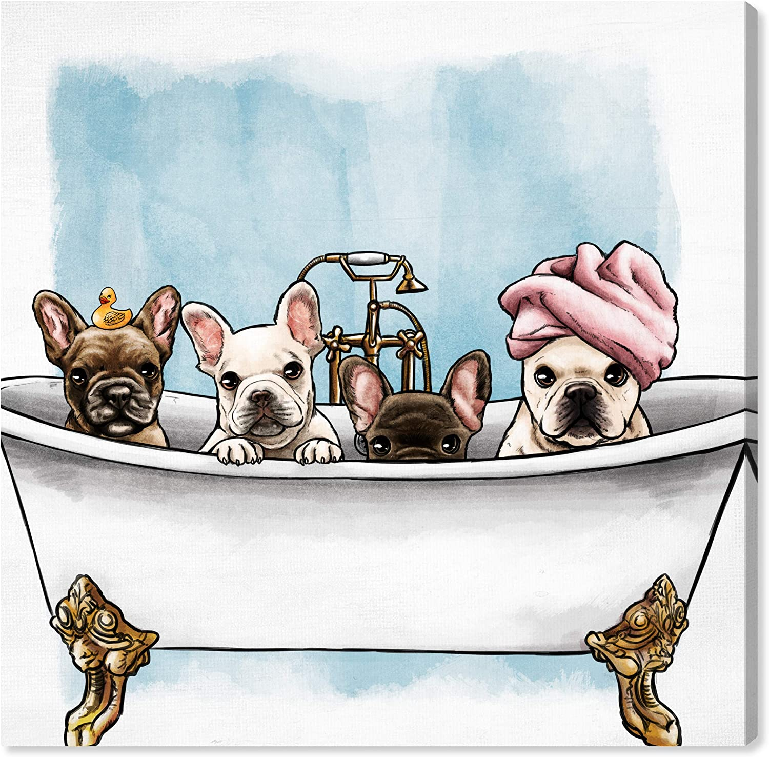 Dealing full price reduction Oliver Gal 'Frenchies In The Tub' Financial sales sale Wall Dogs and Art Puppies