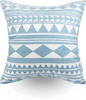 Hodeco Decorative Throw Pillow Covers Light Blue Geometric Diamonds Embroidery Floor Pillow Cover for Couch 100% Cotton Cushion Cover Teal Triangles Square Embroidered 18x18 1 Piece