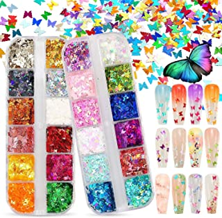 """OfferMax""""3D Holographic Butterfly Nail Glitter 24 Colors/set Splarkly Nail Sequins Flake Acrylic Manicure Paillettes Ultra..."""