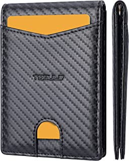TOMULE Mens Leather Wallets Slim Minimalist Wallet Bifold Front Pocket Wallet with Money Clip Wallet RFID Blocking Card Wa...