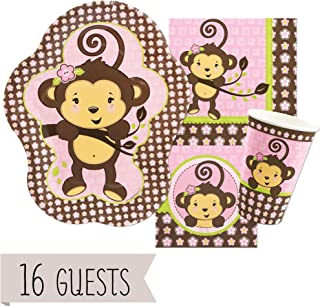 Big Dot of Happiness Pink Monkey Girl - Baby Shower or Birthday Party Tableware Plates, Cups, Napkins - Bundle for 16