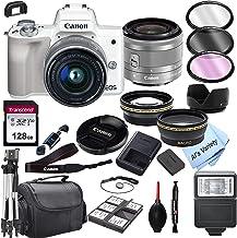 Canon EOS M50 (blanco) cámara digital sin espejo con lente de zoom de 0.591-1.772in + tarjeta de 128 GB, trípode, funda y más (24 unidades)