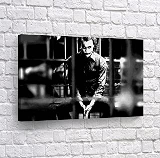 Heath Ledger Joker in Jail Black and White Wall Art Canvas Print Wall Art Decorative Modern Home Decor Poster Artwork Framed and Stretched- Ready to Hang -%100 Handmade in The USA - 24x36