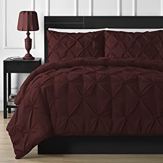 Comfy Bedding Double Needle Durable Stitching 3-Piece Pinch Pleat Comforter Set All Season Pintuck Style, Queen, Burgundy