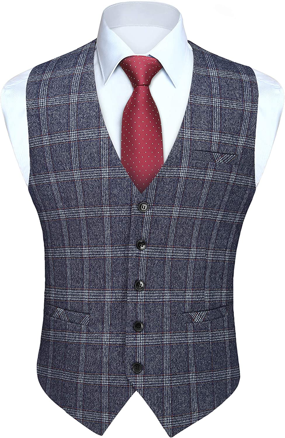 Men's Louisville-Jefferson County Mall Suit Vest Safety and trust Business Formal Plaid Fit Slim with Vests Real 3