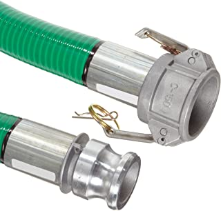 Goodyear EP Spiraflex Aggie Green PVC Suction/Discharge Hose Assembly, 2 Aluminum Cam And Groove Connection, 29mmHg Vacuum...