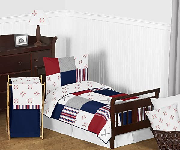 Sweet Jojo Designs Red White And Blue Baseball Patch Sports Boy Toddler Kid Childrens Bedding Set 5 Pieces Comforter Sham And Sheets Grey Patchwork Stripe