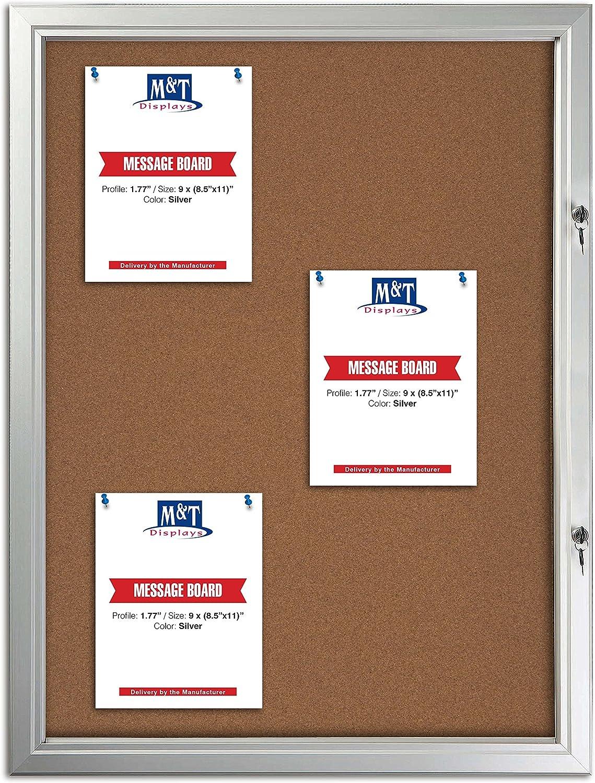 Tamper Proof Noticeboard 受賞店 Enclosed Bulletin Board with 春の新作シューズ満載 Displ Cork