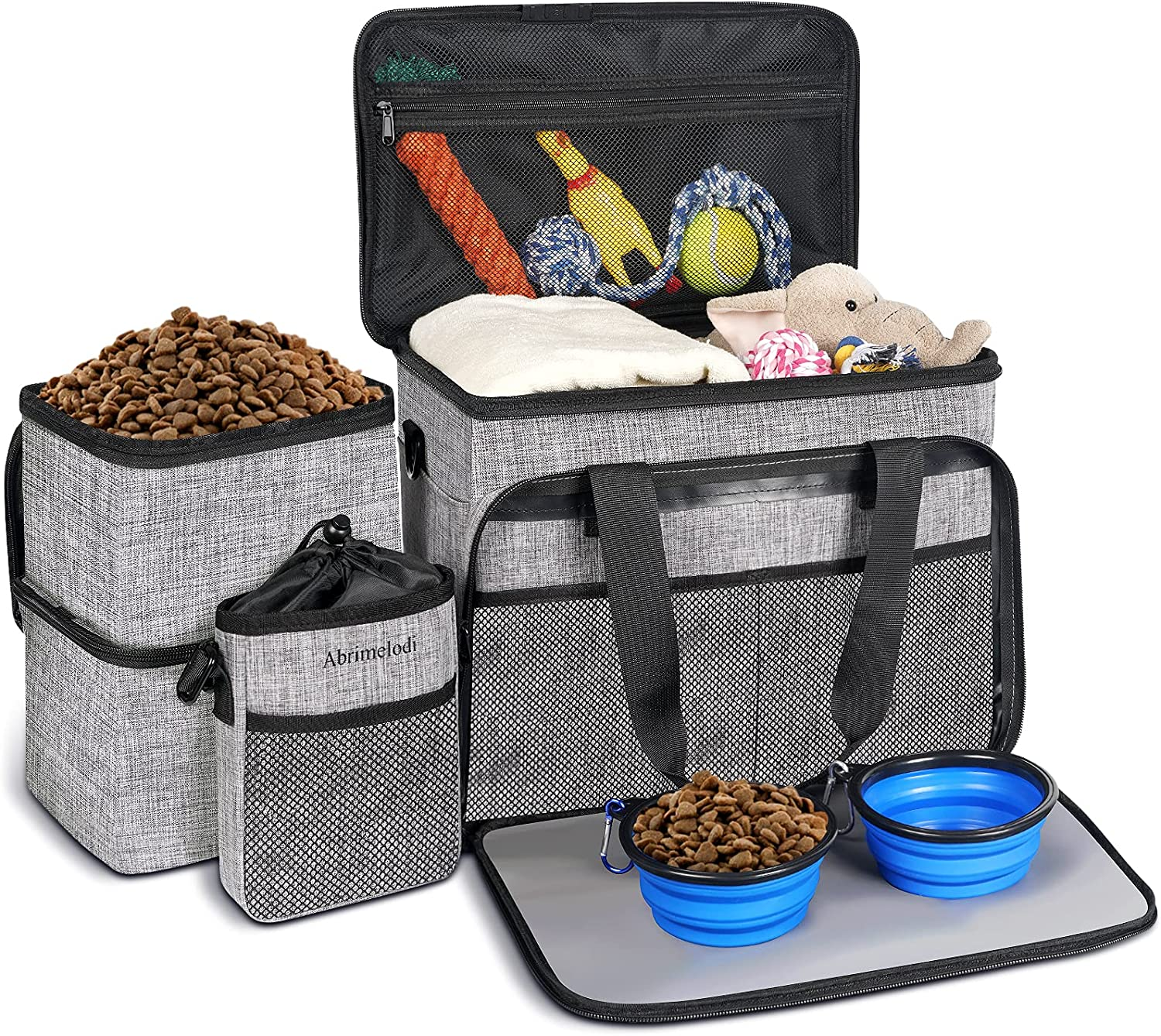 Abrimelodi Dog Travel Bag, Airline Approved Pet Travel Bag Organizer for Dog Supplies, Include 2 Dog Food Containers, 2 Collapsible Dog Bowls and 1 Dog Treat Training Pouch, Dog Tote Organizer, Gray