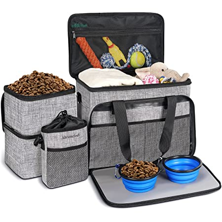 Abrimelodi Dog Travel Bag, Airline Approved Pet Travel Bag for Large Medium Dogs Cats, Dog Bags for Traveling with 2 Collapsible Dog Bowls, 2 Dog Food Storage Container, Dog Training Treat Pouch
