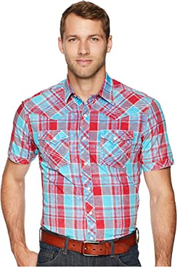 Rock 47 Short Sleeve Plaid Snap Shirt