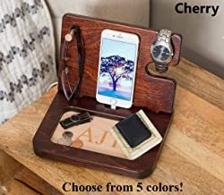 Gift for Dad Personalized Mens Gift Wooden Docking Station Charging Station Phone Dock Cell Phone Stand Desk Organizer Engraved Charging Station
