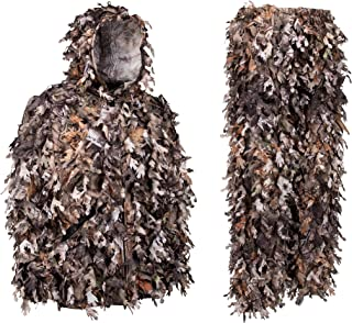 North Mountain Gear Ghillie Suit - Camo Hunting Suit - 3D Leafy Suit - Camouflage Hunting Suit w/Hooded Camo Jacket & Pants - Full Front Zipper, Zippered Pockets - Breathable, Rustle-Free