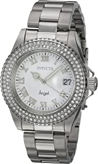 Invicta Women's Angel Stainless Steel Quartz Watch with Leather Calfskin Strap, Silver, 20 (Model: 20502)