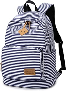 Ahyapiner Striped Canvas Backpack Shoulder Bag Women Casual Travel Daypack Blue